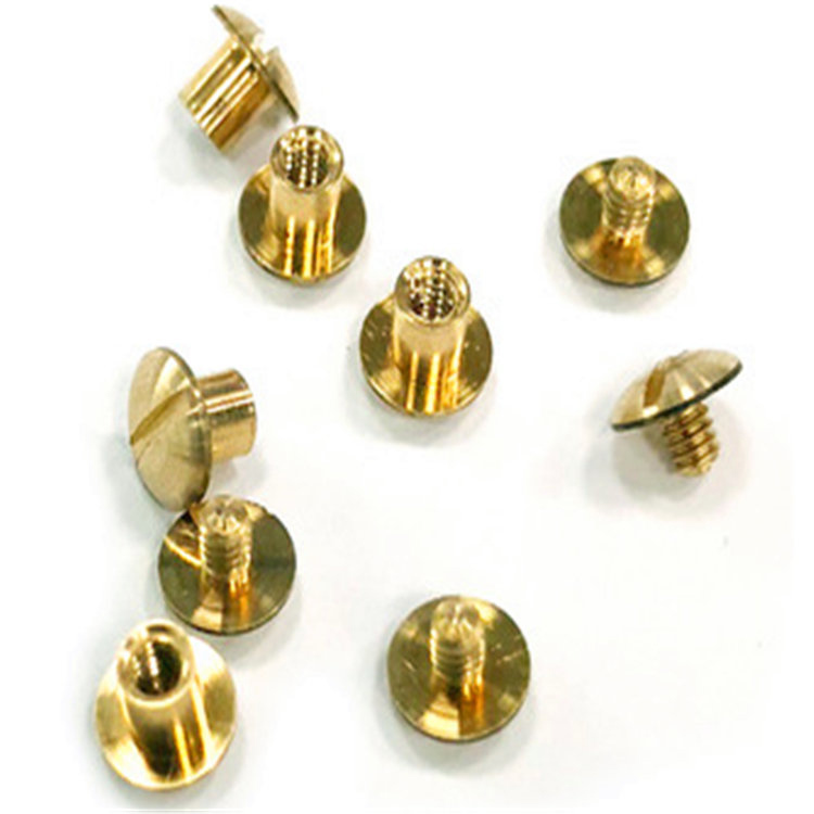 Brass Slotted chicago book binding screws for leather bag&wallet