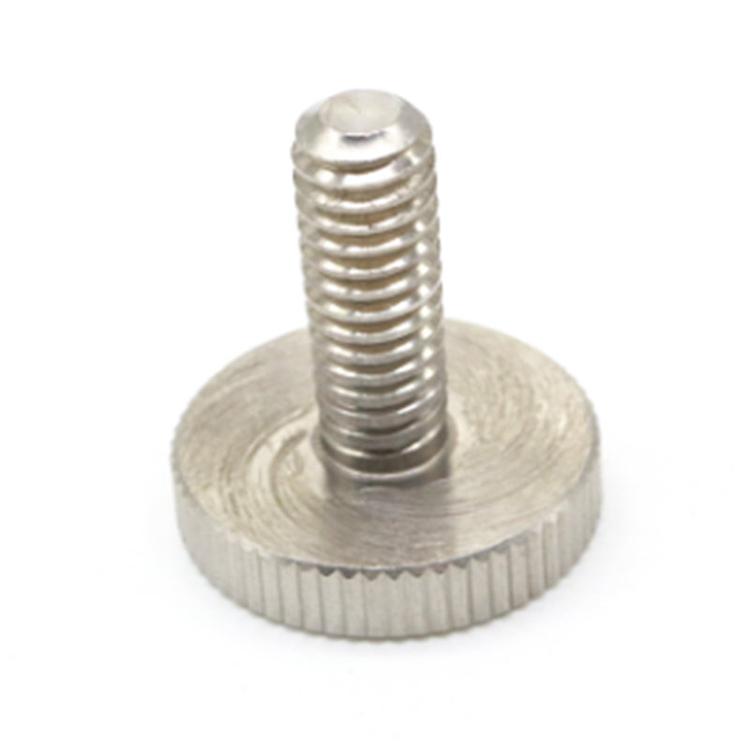 #2-20 Hand Screw Round Knurled Cylinder Flat Head Thumb Screw
