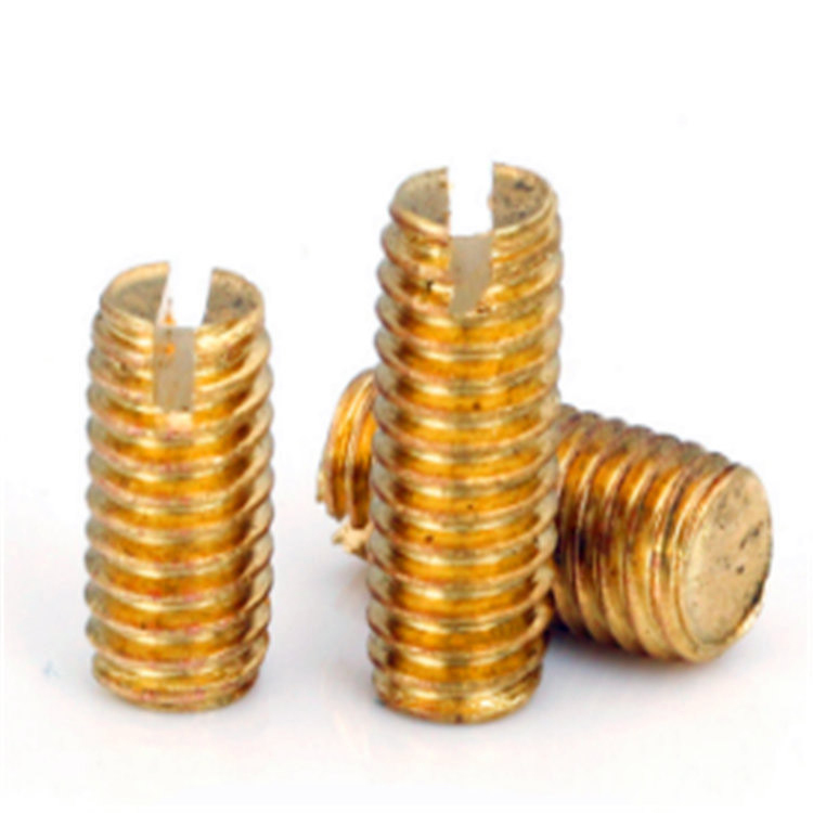 DIN 551 brass small slotted set screw with flat point