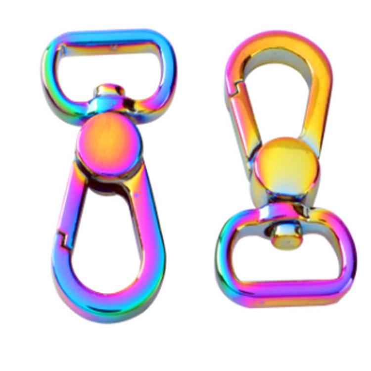 Rainbow iridesent zinc alloy swivel snap hook buckle for luggage