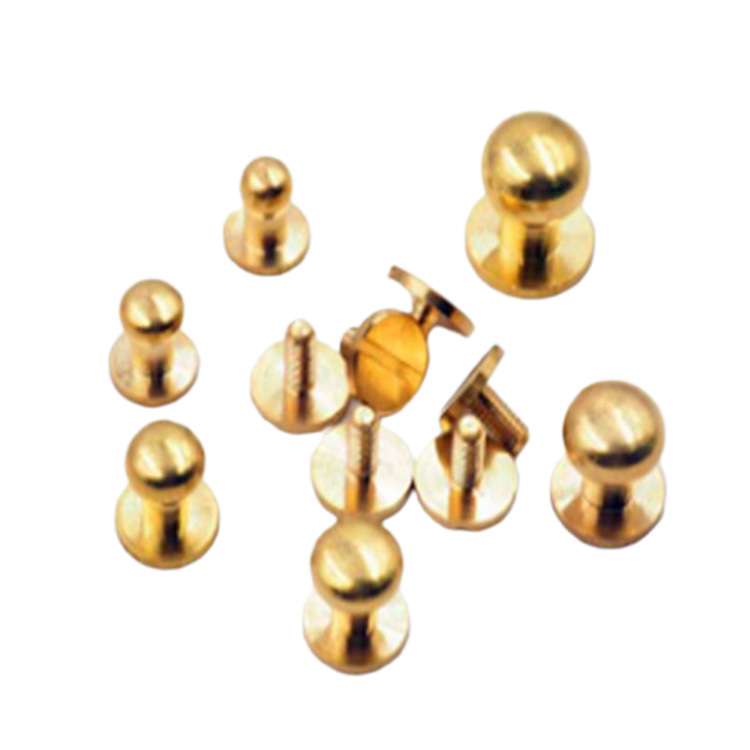 4mm-10mm Solid Brass Screwback Sam Brown Button Stud For leather